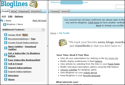 Bloglines printscreen showing the 2-pane layout