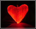 fiber optic embedded in textile heart-shaped pillow